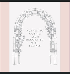 gothic arch hand drawn sketch vintage gate vector image