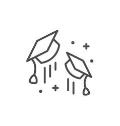 graduation cap line outline icon vector image
