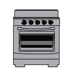 Grayscale silhouette of stove with oven vector