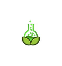 Green laboratory and leaf logo designs vector