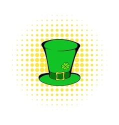 Green leprechaun cylinder hat icon comics style vector