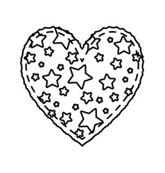 heart love with stars valentines card vector image