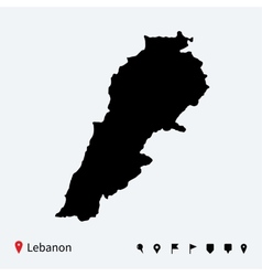High detailed map of Lebanon with navigation pins vector