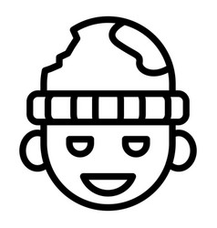 Homeless smiling kid icon outline style vector