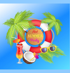 Hot summer party promotional poster with lifebuoy vector