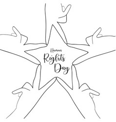 Human rights day card people hands together vector