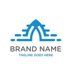 initial logo design technology a vector image