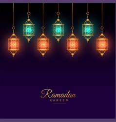 Islamic arabic lantern decoration ramadan kareem vector