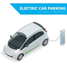 Isometric Electric car parking electronic car vector