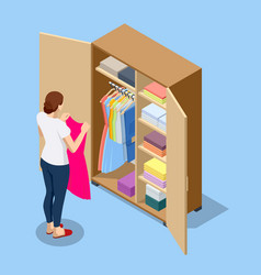 Isometric large wardrobe with things woman vector