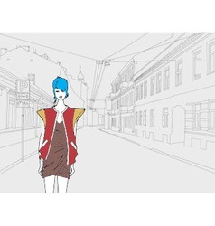 Lady in town vector