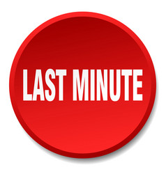 Last minute red round flat isolated push button vector