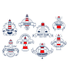 Lighthouse icons for yacht club or bar vector