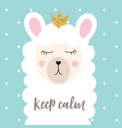 Little cute princess llama with crown for card and vector