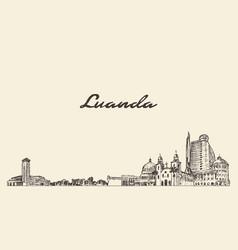 luanda skyline kenya hand drawn city sketch vector image