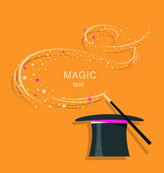 Magic hat and magic wand background vector