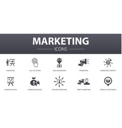 Marketing simple concept icons set contains vector
