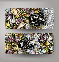 massage hand drawn doodle banners set cartoon vector image