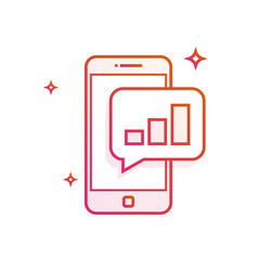 Mobile phone or smartphone with a message growth vector