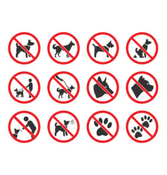 no dogs sign dog prohibition icons set vector image
