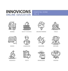 Online education line design icons set vector image