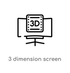 Outline 3 dimension screen icon isolated black vector
