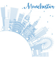 Outline manchester england city skyline with blue vector