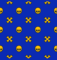 pattern with skulls and bones background vector image