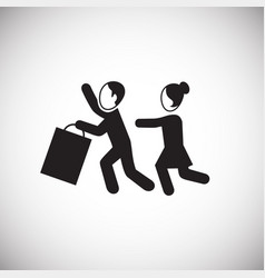 People fighting for items on sale on white vector