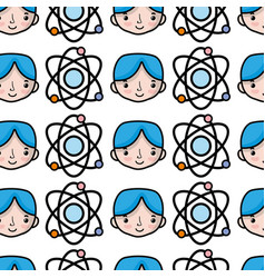 Physics orbit atom with boy student background vector