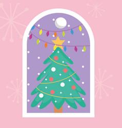 pine tree star lights balls snow merry christmas vector image