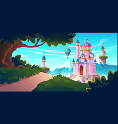 pink magic castle princess or fairy palace on rock vector image