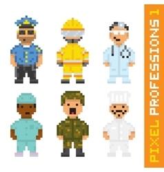 Pixel art style professions set 1 vector