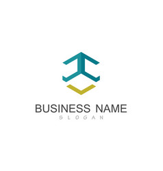 polygon line business logo vector image