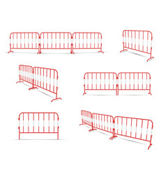 road barrier linked two or three elements red vector image