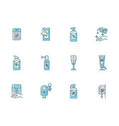 Sanitizer types blue rgb color icons set vector
