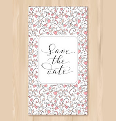Save the date card with hearts pattern background vector