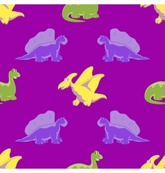 Seamless background funny dinosaurs vector