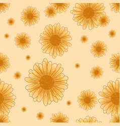 seamless chamomile pattern with orange flowers vector image