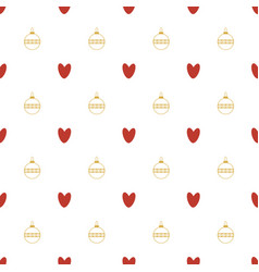 seamless pattern of hearts and christmas vector image