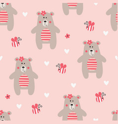 Seamless pattern with teddy bear vector