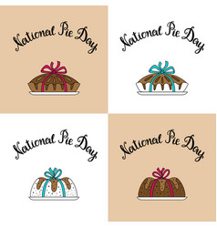 set four square banner national pie day vector image
