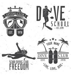 set of scuba diving club and diving school design vector image