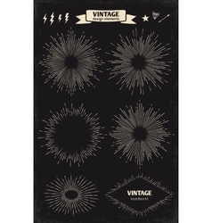 Set of vintage hand drawn sun sunburst starburst vector