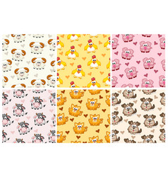 set seamless pattern from farm animals cartoon vector image