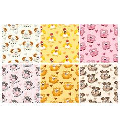 Set seamless pattern from farm animals cartoon vector