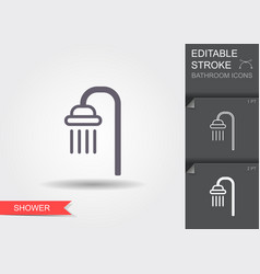 shower line icon with editable stroke with shadow vector image