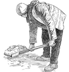 Sketch janitor with a shovel to clear snow vector