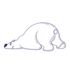 Sleeping polar bear icon cartoon style vector