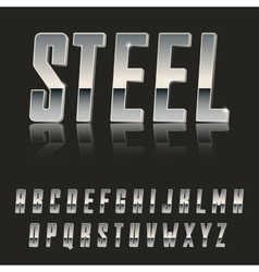 Steel chrome letters typeface made steel modern vector
